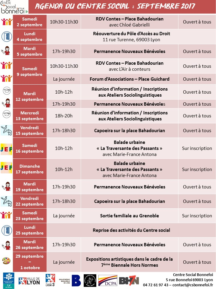 Agenda des activités de septembre